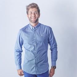Camisa azul con estampado floral 1802B